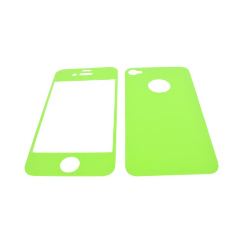 AT&T/ Verizon Apple iPhone 4, iPhone 4S Screen Protector & Protective Skin (Front & Back) - Lime Green