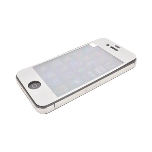AT&T/ Verizon Apple iPhone 4, iPhone 4S Screen Protector & Protective Skin (Front & Back) - Silver