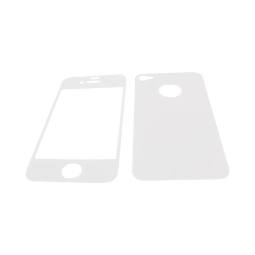 AT&T/ Verizon Apple iPhone 4, iPhone 4S Screen Protector & Protective Skin (Front & Back) - White