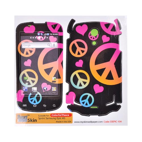 Smart Touch Skin Samsung Epic 4G Protective Skin - Colorful Love Peace on Black