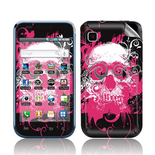 Smart Touch Skin Samsung Vibrant Protective Skin - Hot Pink Skull on Black