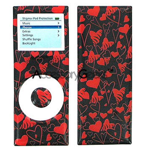 iPod Nano 2 3D Vinyl Sticker - Hearts On Black
