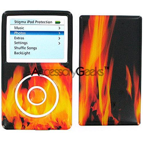 iPod Video 3D Vinyl Sticker - Fire on Black