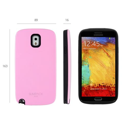 Pink AccessoryGeeks SlimTough Dual Layer Hard Cover on Silicone Shell w/ Hidden Card Slot for Samsung Galaxy Note 3