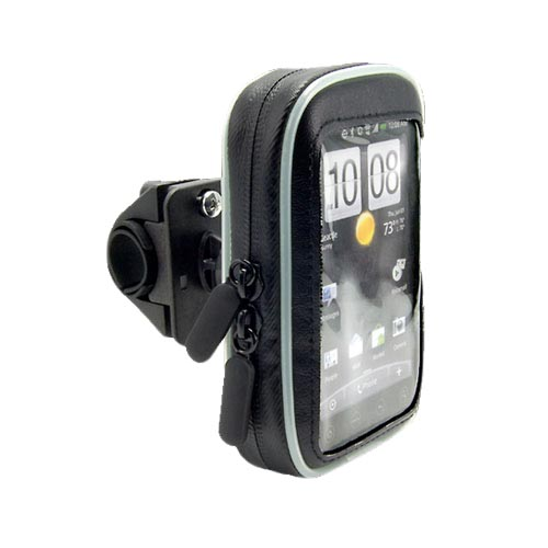 Original Arkon Universal Bike/Motorcycle Handle Bar Mount w/ Waterproof Zip-up Cellphone Hard Case, SM032 - Black