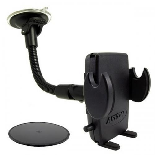 Arkon Black Mega Grip Mount - 8.5in Gooseneck Windshield / Dashboard (CM089-ST-2SH + AP013 + SM040-2)
