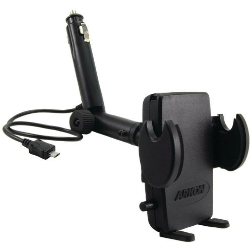 Arkon Black Mega Grip Mount - Lighter Socket Mount with Micro USB Power Cord (GN097-2-MICRO + SM040-2)
