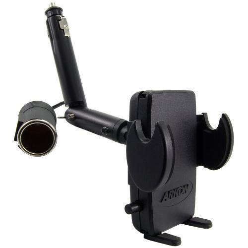 Arkon Black Mega Grip Mount - Lighter Socket Mount with Power Dongle (GN097-SBH + SM040-2)