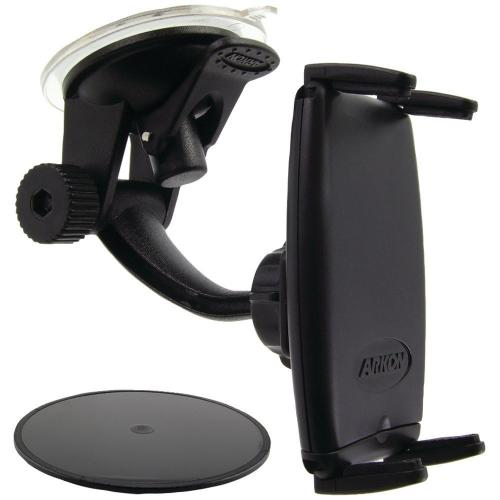 Arkon Black Slim-Grip Mount - Travelmount Deluxe Windshield | Dashboard Mount (GN014-SBH + SM050-2 + AP013)