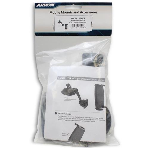 Arkon Black Slim-Grip Desktop | Flat Surface Mount for Smartphones (SM050-2 + CM078-SBH + AP020)