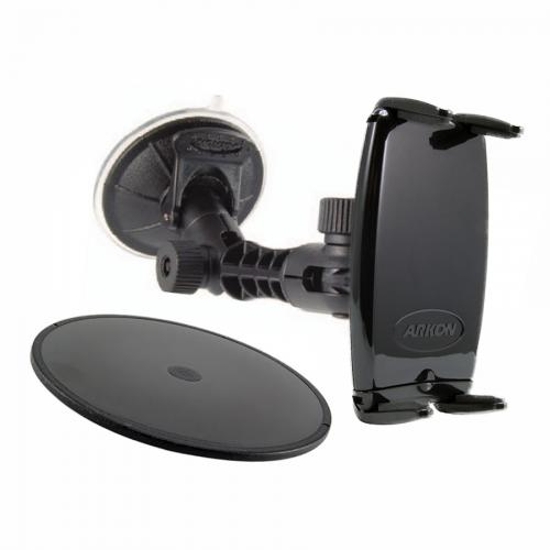 Arkon Black Slim-Grip ULTRA - Multi-Surface Modular Sticky Suction Mount for Smartphones (SM060-2 + MP098WD-2)
