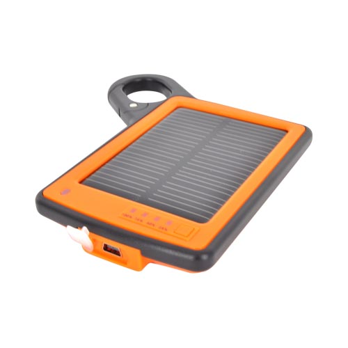 Universal Solar Power Charger w/ 10 Connectors Including iPhone, Micro USB, & Mini USB - Orange/ Black