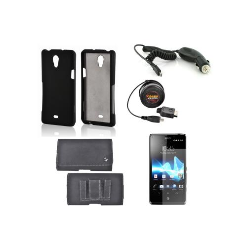 Sony Xperia TL Essential Bundle Package w/ Black Rubberized Hard Case, Screen Protector, Leather Pouch, Car & Travel Charger