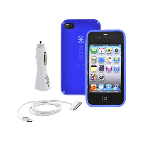 AT&T Apple iPhone 4 Speck Blue Speck CandyShell Case, USB Vehicle Charger and Data Cable Bundle