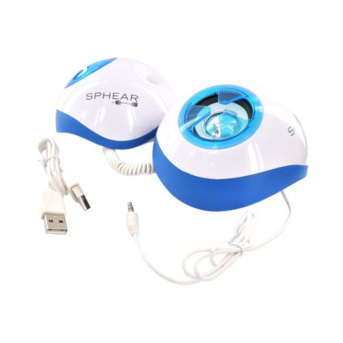 Original OrigAudio Sphear USB Stereo Speaker - White/Blue (3.5mm Audio Jack)