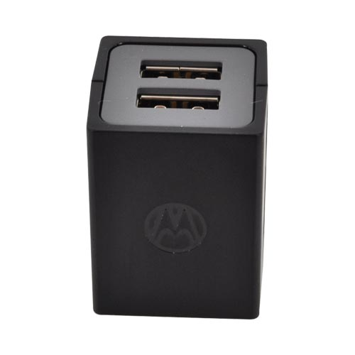 Original Motorola Universal Dual Port Travel Charger Adapter & Micro USB Charging Cable, SPN5689 - Black (750 mAh)