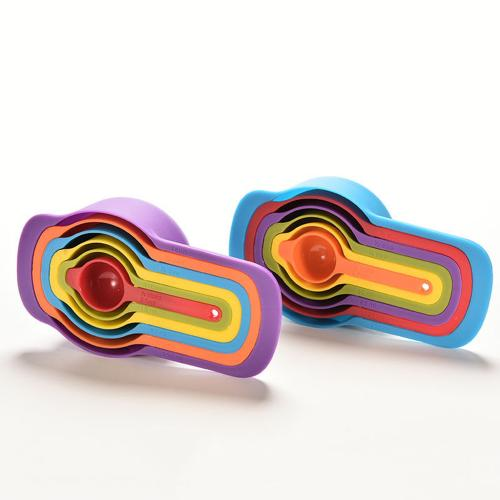 Rainbow Plastic Measuring Cups Spoons Set - Cook in Style!