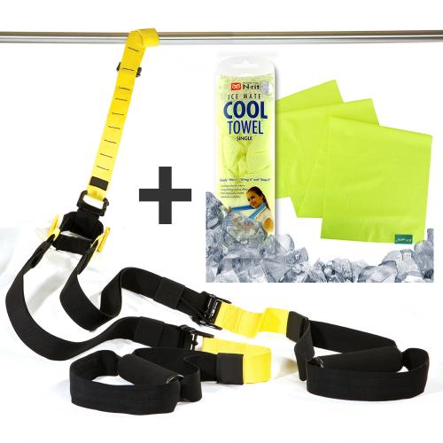 Sports Bundle w/ Suspension Trainer Straps & N-Rit Ice Mate Cooling Sport Towel - Keep Fit!