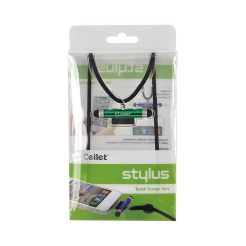 Original Cellet Apple iPhone/ iPod Stylus Pen w/ Neck Strap - Green/ Black