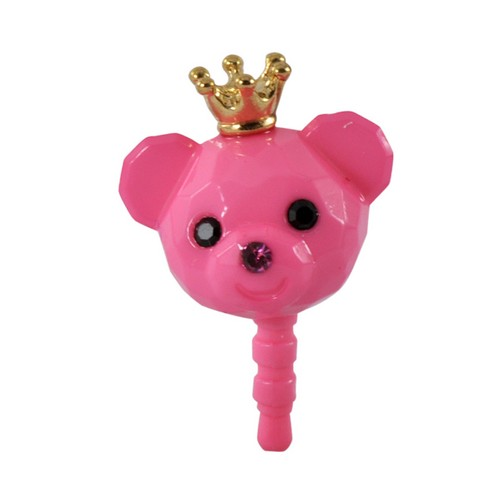 Pink Bear w/ Crown Universal 3.5mm Headphone Jack Stopple Charm
