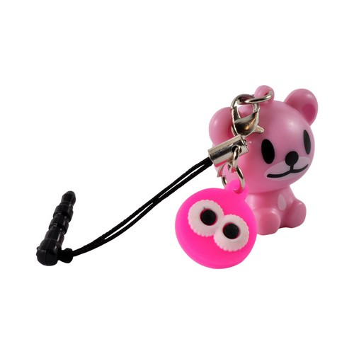 Pink Bear 3.5mm Light Up Headphone Jack Stopple Charm