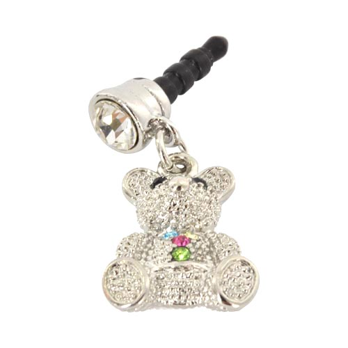 3.5mm Headphone Jack Stopple Charm - Silver Teddy Bear w/ Multi-Colored Gems