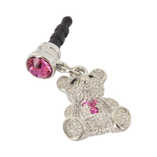 Universal 3.5mm Headphone Jack Stopple Charm - Silver Teddy Bear w/ Pink Gems