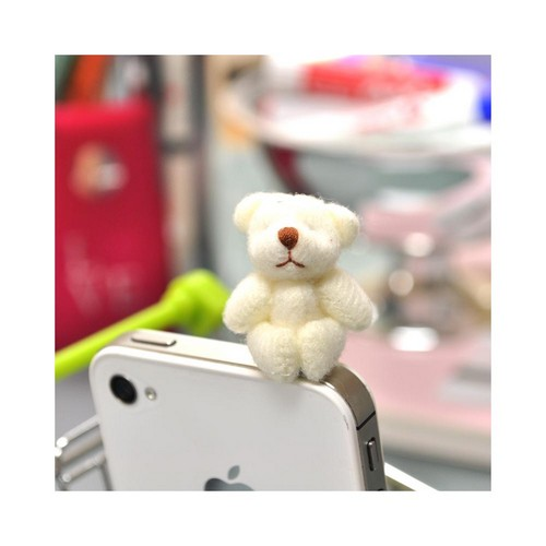 Universal 3.5mm Headphone Jack Stopple Charm - White Fuzzy Teddy Bear