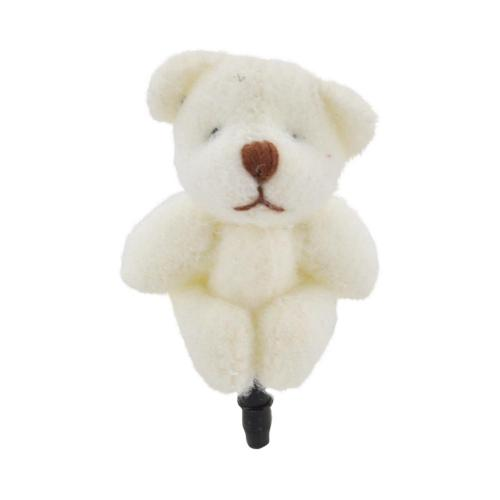 3.5mm Headphone Jack Stopple Charm - White Fuzzy Teddy Bear