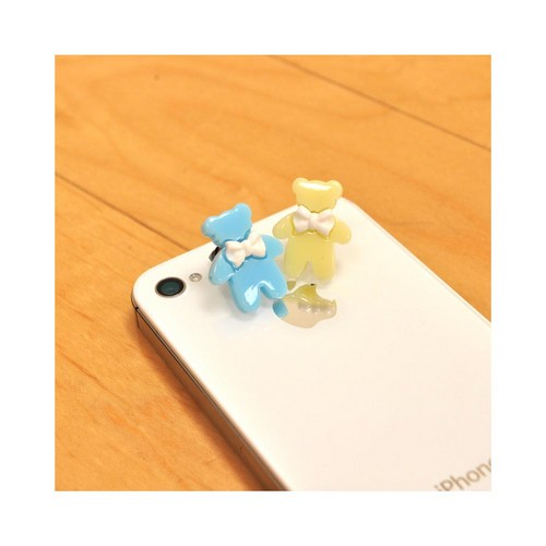 3.5mm Headphone Jack Stopple Charm - Baby Blue Bear w/ White Bow