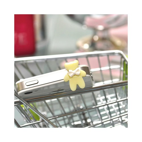 Universal 3.5mm Headphone Jack Stopple Charm - Light Yellow Bear w/ White Bow
