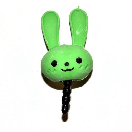 Universal 3.5mm Headphone Jack Stopple Charm - Cute Green Bunny
