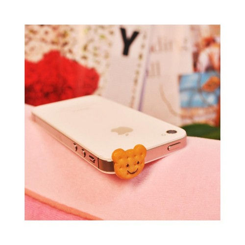 Universal 3.5mm Headphone Jack Stopple Charm - Light Brown Bear Cookie