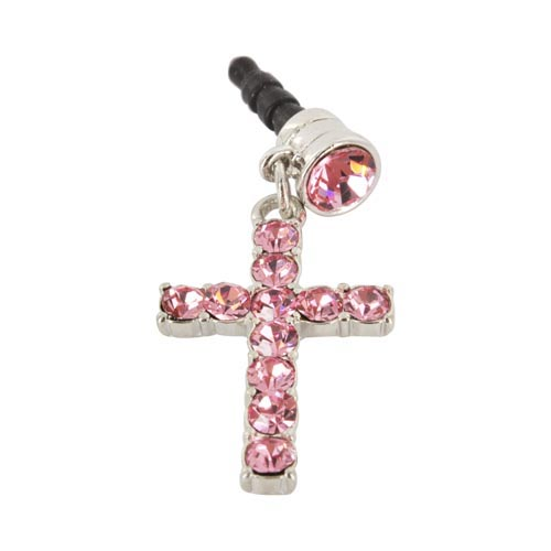 Universal 3.5mm Headphone Jack Stopple Charm - Silver Cross w/ Pink Gems
