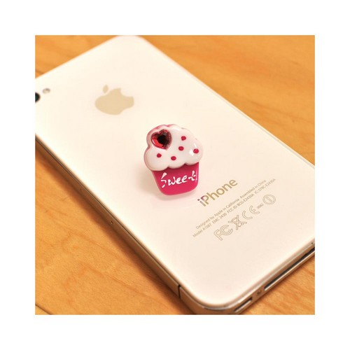 Universal 3.5mm Headphone Jack Stopple Charm - Hot Pink/ White Sweet Cupcake w/ Pink Bling Heart