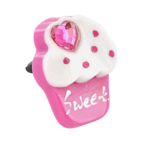 3.5mm Headphone Jack Stopple Charm - Hot Pink/ White Sweet Cupcake w/ Pink Bling Heart