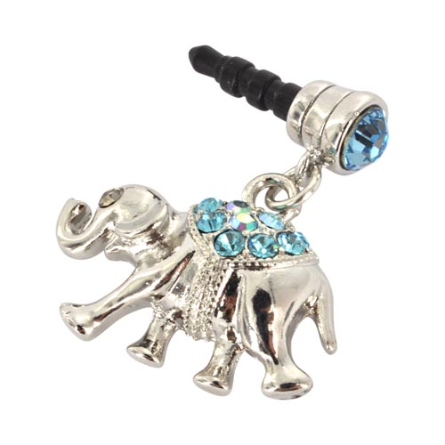 Universal 3.5mm Headphone Jack Stopple Charm - Silver Elephant w/ Baby Blue Gems