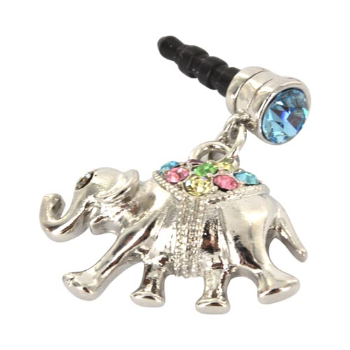 3.5mm Headphone Jack Stopple Charm - Silver Elephant w/ Multi-Colored Gems