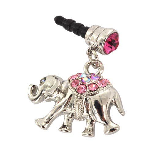 Universal 3.5mm Headphone Jack Stopple Charm - Silver Elephant w/ Pink Gems