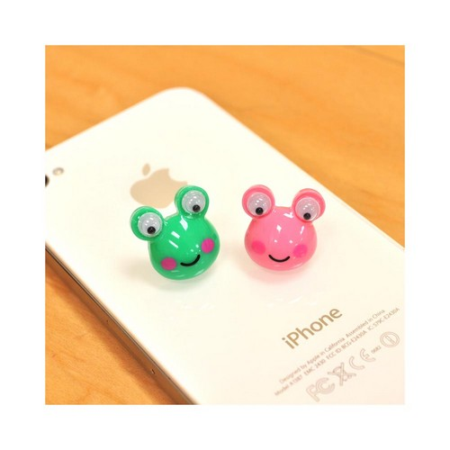 Universal 3.5mm Headphone Jack Stopple Charm - Green Frog w/ Googly Eyes