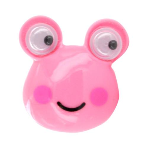 3.5mm Headphone Jack Stopple Charm - Pink Frog w/ Googly Eyes