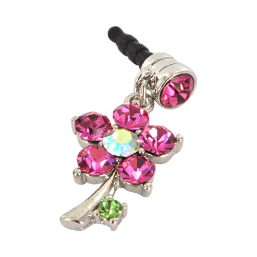 Universal 3.5mm Headphone Jack Stopple Charm - Silver Flower w/ Pink Gems