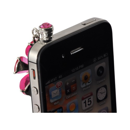 Pink Flower Universal 3.5mm Headphone Jack Stopple Charm