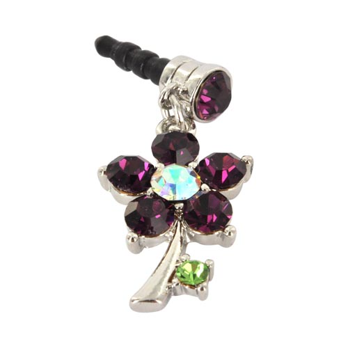 Universal 3.5mm Headphone Jack Stopple Charm - Silver Flower w/ Purple Gems