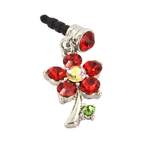 Universal 3.5mm Headphone Jack Stopple Charm - Silver Flower w/ Red Gems