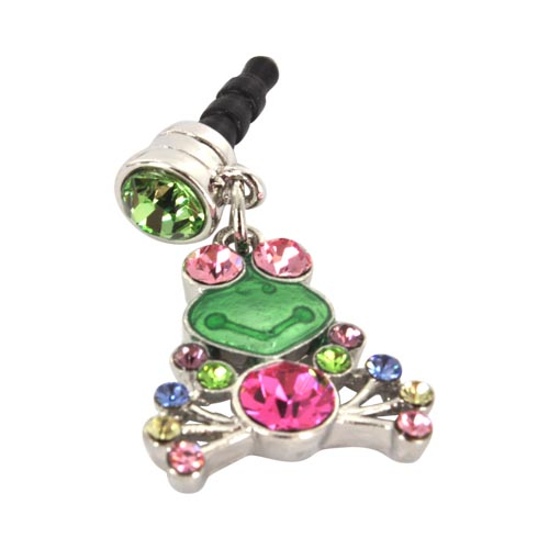 Universal 3.5mm Headphone Jack Stopple Charm - Frog w/ Multi-Colored Gems