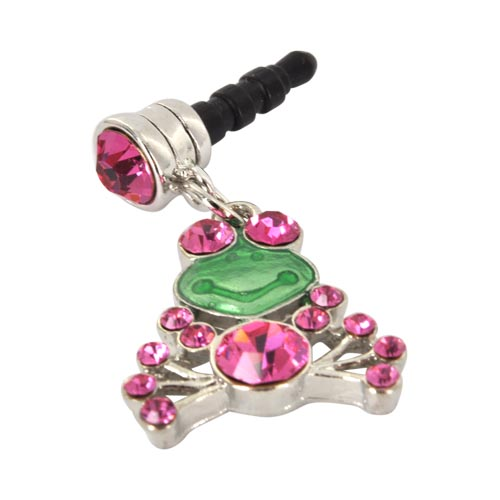 Universal 3.5mm Headphone Jack Stopple Charm - Frog w/ Pink and Green Gems