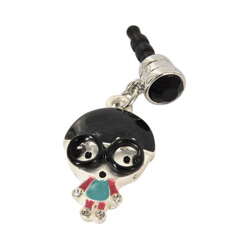 Universal 3.5mm Headphone Jack Stopple Charm - Geek Boy w/ Black Glasses and Silver Gems