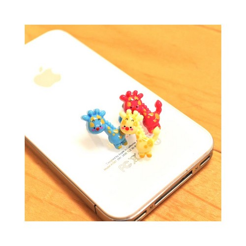 Universal 3.5mm Headphone Jack Stopple Charm - Blue/ Yellow Giraffe