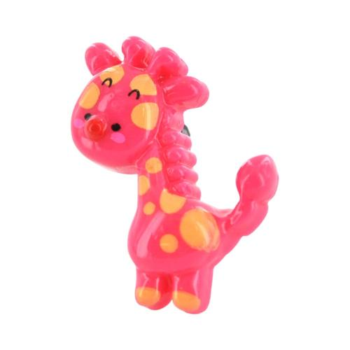 Universal 3.5mm Headphone Jack Stopple Charm - Hot Pink/ Yellow Giraffe